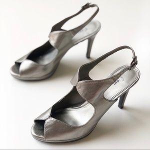 Fioni Gunmetal Silver Peeptoe Heels 6.5